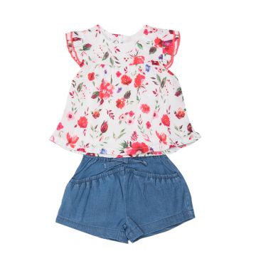Floral print two piece set - top and shorts