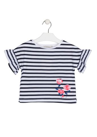 Short sleeve stripe t-shirt - ruffle