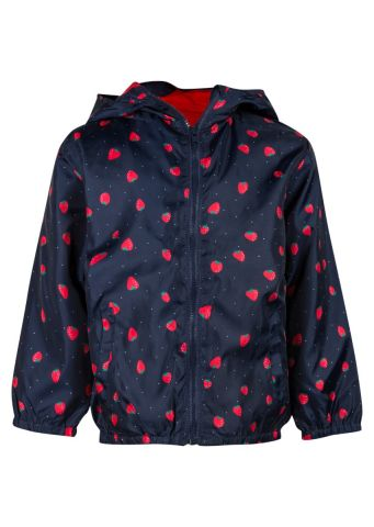 Raincoat with hood in an all over strawberry print