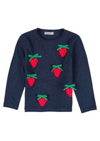 Strawberry knit jumper with long sleeves