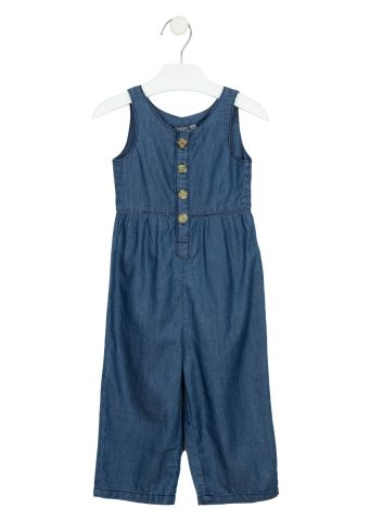 Chambray jumpsuit with crochet detail