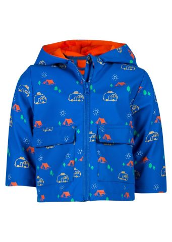 Raincoat with hood in an all over camper-van print
