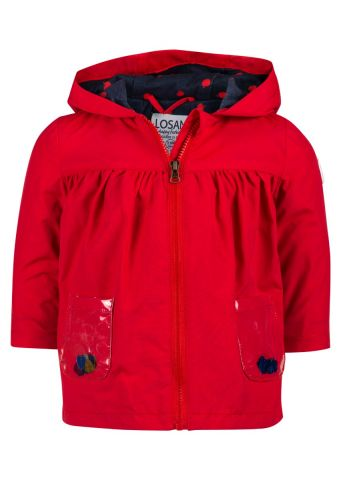 Raincoat with hood and heart pocket detail