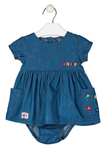 Short sleeve denim dress with pants