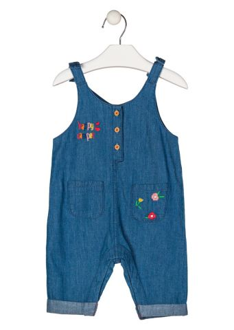 Denim jumpsuit with embroidered detail