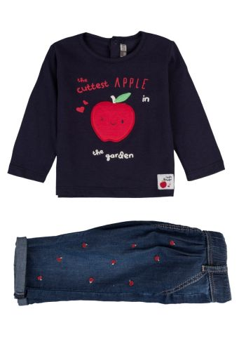 Apple print two piece - top and trousers