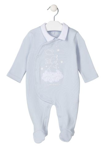 Bunny print sleepsuit with collar