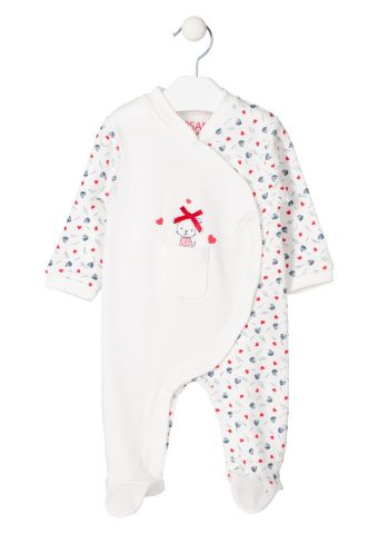 Heart and boat print detail sleepsuit