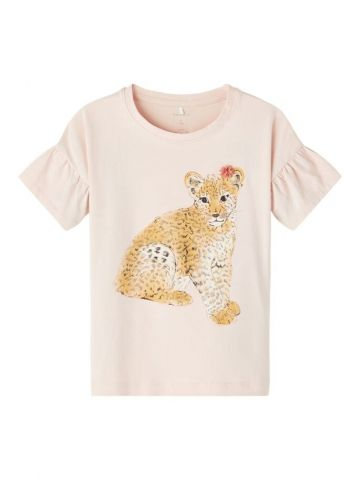 Leopard print t-shirt with puff sleeves