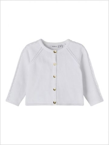 Knit cardigan with gold button detail