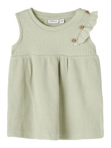 Waffle dress with button and lace detail - khaki