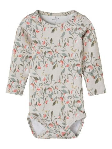 Leaf print romper with popper opening