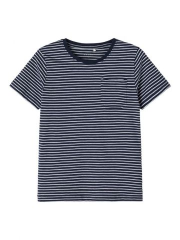 Striped t-shirt with pocket detail - navy