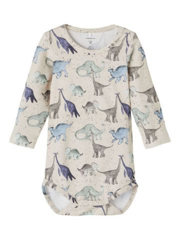 Dino print romper with button fastening