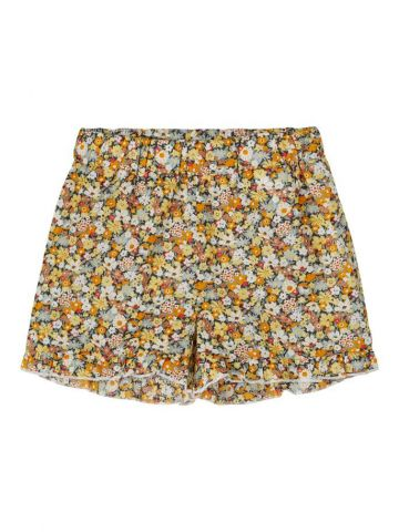 Floral print shorts with ruffle detail