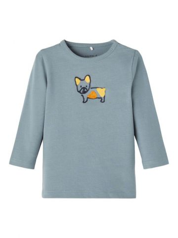 Long sleeve t-shirt with embroidered dog - Blue