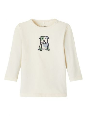 Long sleeve t-shirt with embroidered dog