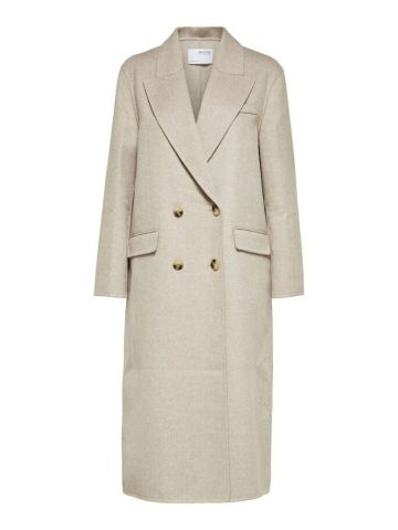 Recycled Wool double breasted long coat - Sandshell