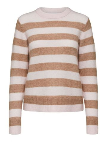 Striped knitted crew neck jumper