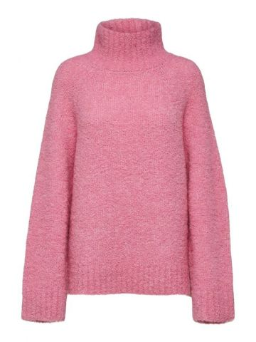 Flared sleeve high neck pullover