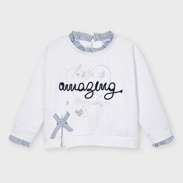 Sweatshirt with ruffle collar and cuff detail