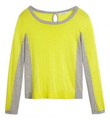 Colour block sweater with keyhole - Blazing Yellow