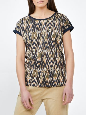 T-shirt with aztec print on front