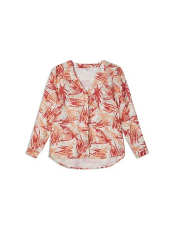 Linen top with all over abstract print