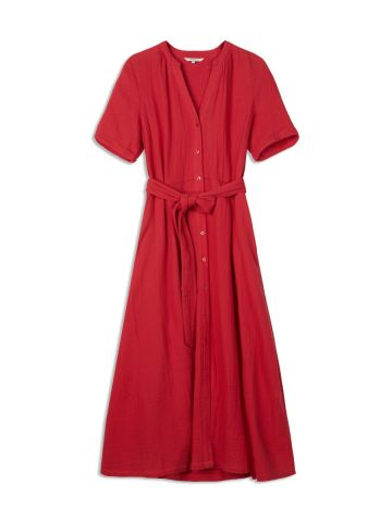 Long cotton dress with short sleeves