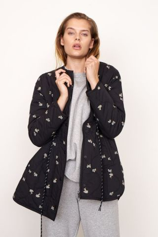 California quilted jacket with floral embroidery