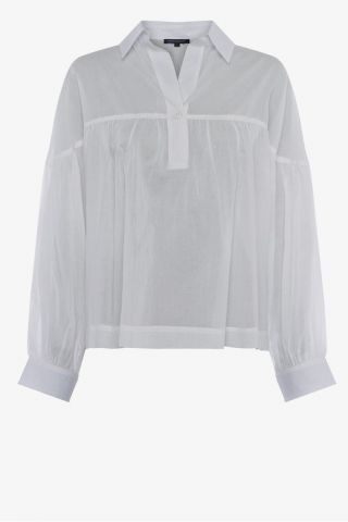 Cotton voile shirt with smock detail