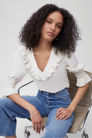 Ruffle neck blouse in a light crepe