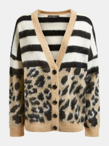 Cardigan in a contrasting strip and animal print