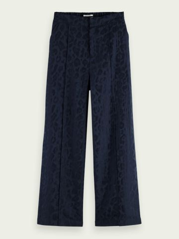 Animal print wide leg trouser