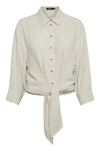 Linen blend shirt with tie at front