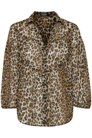 Leopard print blouse with long sleeve