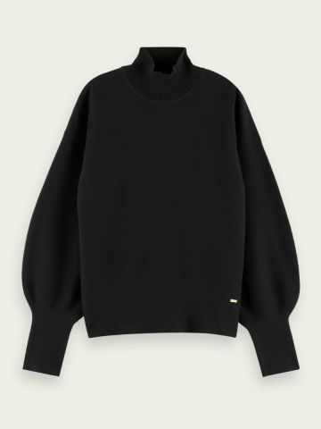 Scotch & Soda Cotton polo neck with puff sleeves