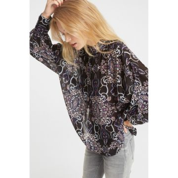 Blouse with floral paisley print and high rising collar