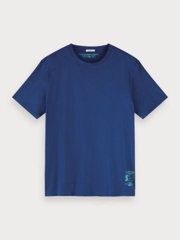 Crew neck T-Shirt in a blue jersey