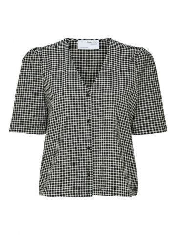 Checked shirt with v - neck