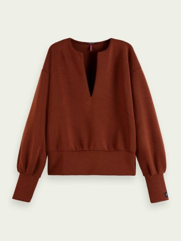V neck Sweater with Voluminous sleeves