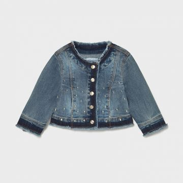 Denim jacket with silver stitched detail