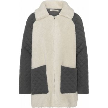 Diamond quilted teddy jacket
