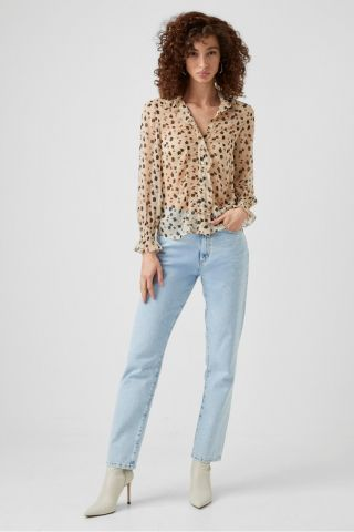 Dolores crinkle shirt in an all over leaf print