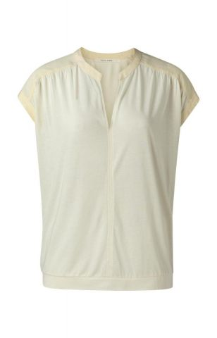 Fabric mix top with v-neck