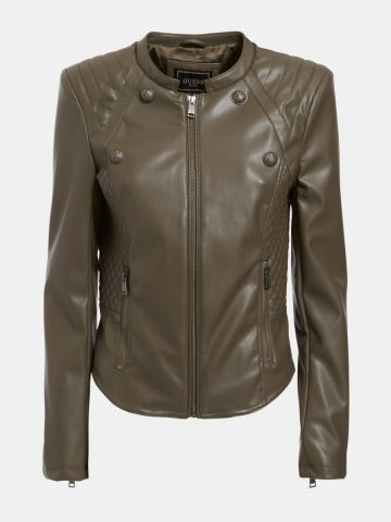 Faux leather quilted biker jacket - khaki grey