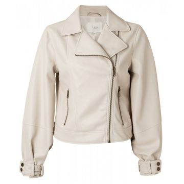 Biker Jacket with balloon sleeves in a faux leather -sand