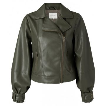 Biker Jacket with balloon sleeves in a faux leather