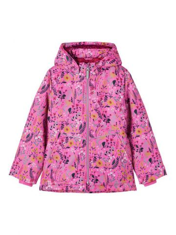 Floral print padded coat with detachable hood