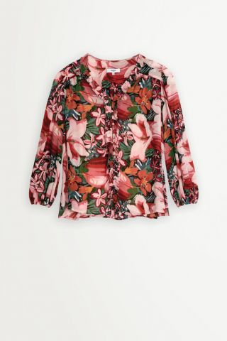 Tropical print blouse with a v neck